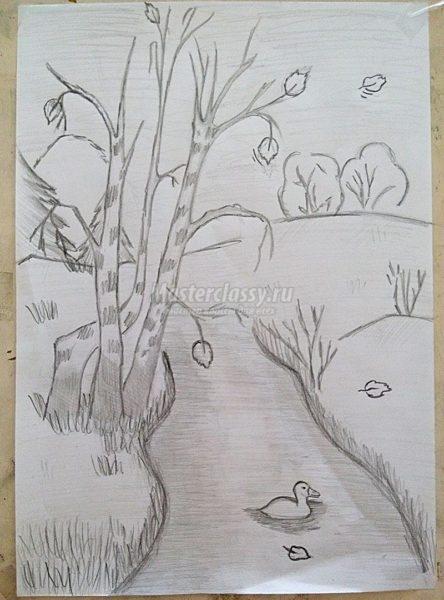 Рисунки карандашом осенний пейзаж (58 фото)