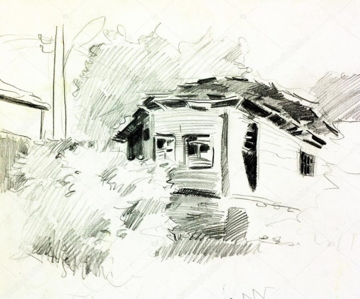 Рисунки карандашом сельский пейзаж (29 фото)