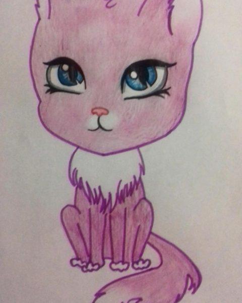 Рисунки кошки карандашом для детей (33 фото)
