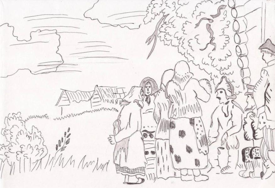 Рисунки карандашом береза (28 фото)