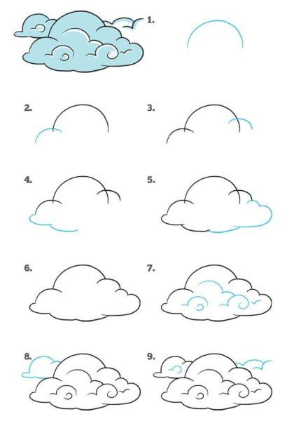 Рисунки для срисовки облака (28 фото)